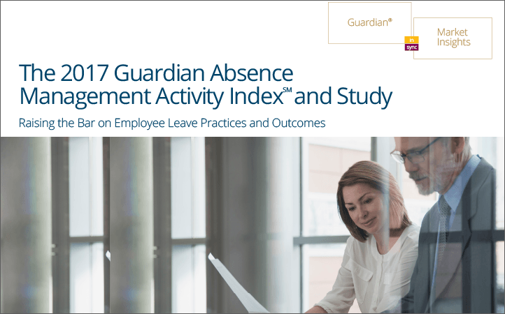 Cover of Guardian's 2017 Absence Management Study on best practices for managing employee leaves.