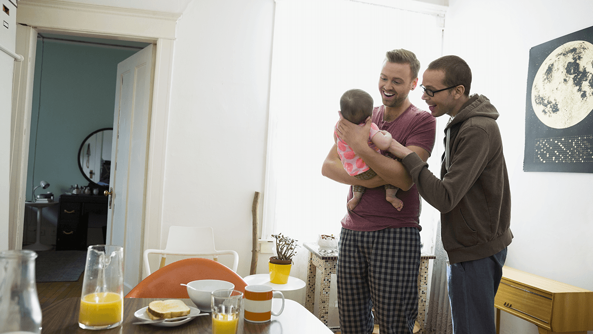 Gay couple welcoming a baby to their family while on FMLA leave