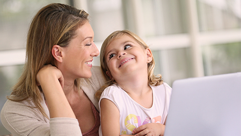 Mother with daughter deciding how much employee insurance she needs